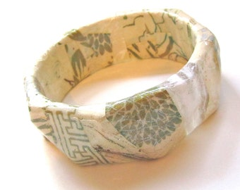 Soft White Decoupaged Bangle - whimsical, shimmering cream colored bracelet - paper and plastic geometric jewelry in neutral color scheme