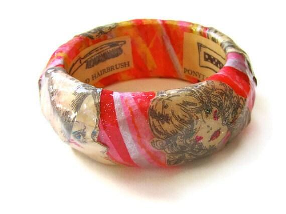 Art Jewelry - Retro Beauty Bangle - black and white ephemera, pink, yellow, orange, decoupaged collage bracelet, unique paper accessory