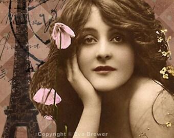 Life is Sweet, original digital collage ephemera altered art vintage digital collage sheets digital print french paris girls