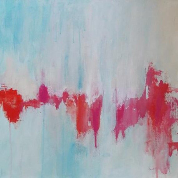 abstract painting large painting acrylic painting pink orange red modern art