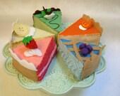 felt Pie Shop Special 5 pieces of pie childrens play food