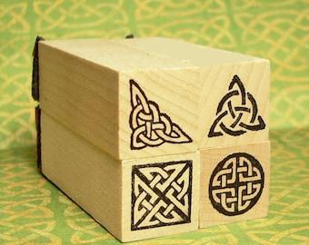 Celtic Knot Mini Rubber Stamp Boxed Set #1 Triquetra Corner Knot Round Knot Square Knot