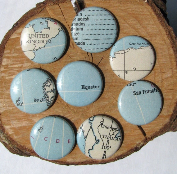 Vintage Atlas - Magnet Set - Graphic - Map Design