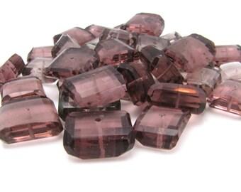 Mauve smoky purple hydro Quartz fancy cut nuggets, Full loose strand, 12-15mm