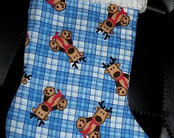Sweet Reindeer on Blue Plaid and Chenille Christmas Stocking with FREE US SHIPPING