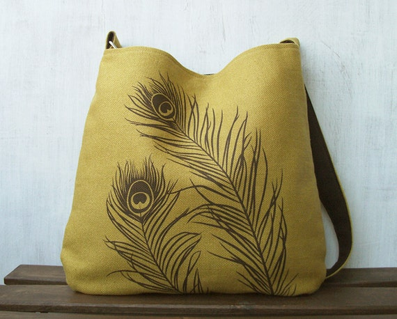 Hemp Tote Bag / Messenger Bag with Peacock Feathers - Golden Mustard