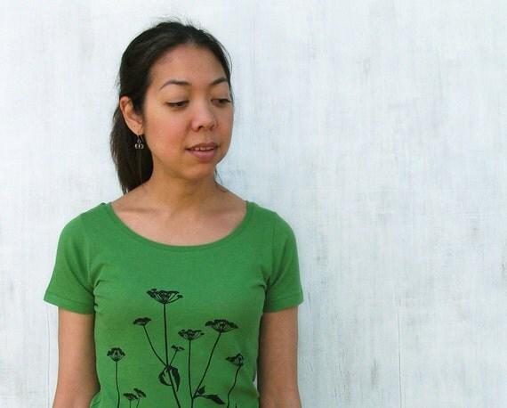 Womens T shirt - Green Queen Annes Lace - Organic Cotton - S M L XL