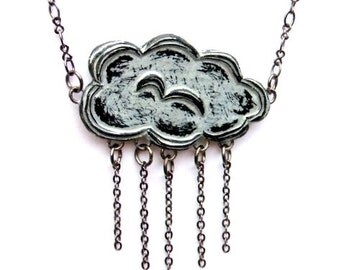 Metallic Silver Raincloud Necklace, Cloud Jewelry, Rain Necklace, Cloud Pendant, Storm Pendant, Weather Jewelry, Gift for Her