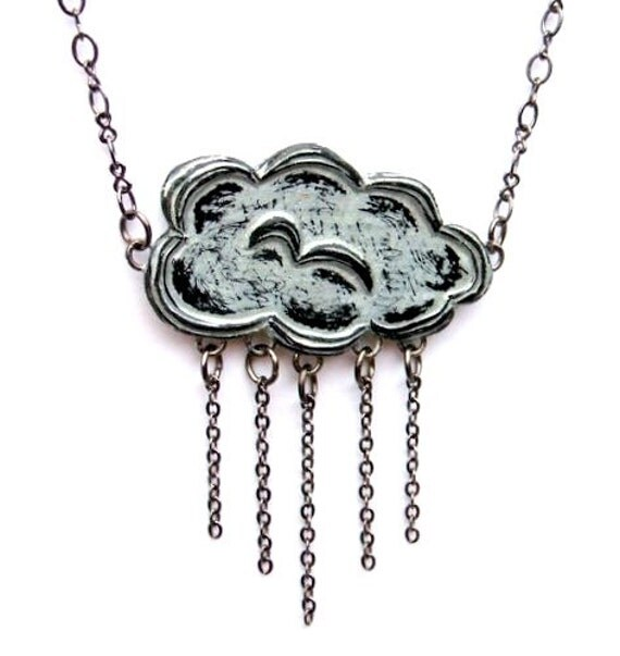 Metallic Silver Raincloud and Rain Necklace - Into Every Life Some Rain Must Fall Necklace