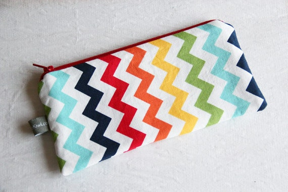 Zipper pouch - chevrons - rainbow - blue - red - orange - yellow - green - white - make up - jewelry - pencils - handbag - gift - school