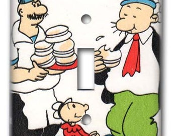 Single Switch Plate 1970's Vintage Wallpaper Wimpy enjoys Burger