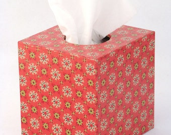 Tissue Box Cover 1950's Vintage Wallpaper in Red Geometric Floral