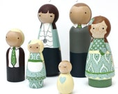 Custom Peg Doll Family of 6