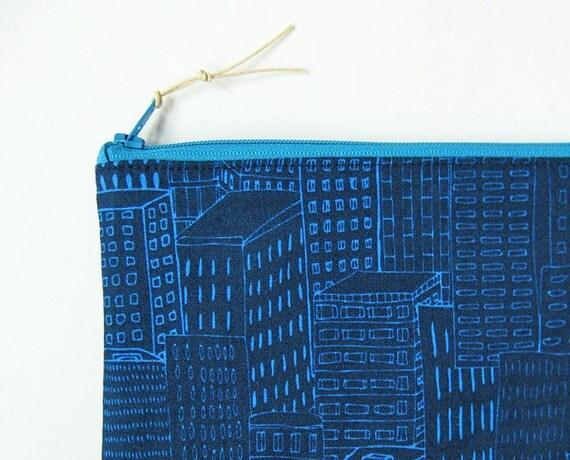 Zipper pouch - skyscrapers on blue