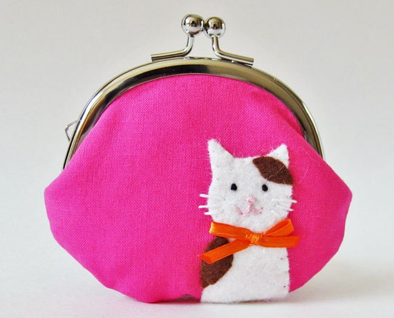 Coin purse cat on hot pink