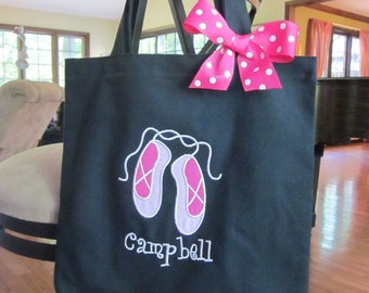 TOTE BAG Dance Tote with Sweet Pink Ballet Slippers AND Coordinating Bow
