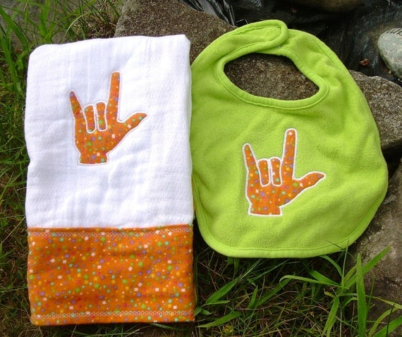 ASL I Love You Hand - Burp Cloth and Bib Set- Orange Flannel
