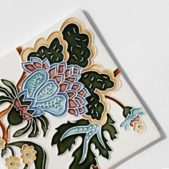 Art Nouveau Style Abstract Flower - handmade ceramic tile for home decor - kitchen backsplash, bath, fireplace