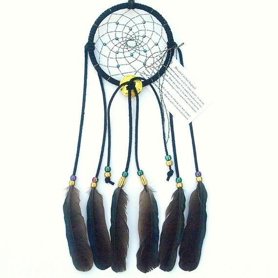 Black Dream Catcher, English Magpie Feathers