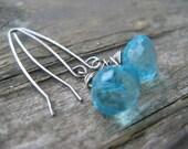 swiss blue quartz dumpling earrings - oxidized silver