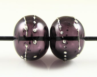 Purple Fine Silver Droplet Hollow Lampwork Glass Bead Pairs