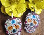 Mexican skull, Sugar Skull, Dia de los Muertos, Cinco de Mayo, Calavera Earrings, Vintage Tattoo Flash design, Mexican Jewelry