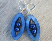 SALE  Blue Mother of Pearl Earrings. Navette Shaped. Freshwater Pearls. Silver Leverbacks.