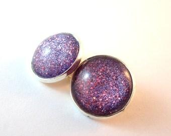 Purple Sparkle Clip On Earrings. 15mm.