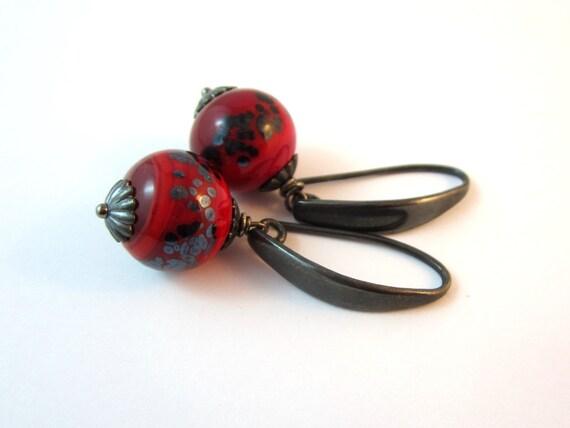 Red Raku Lampwork Earrings. Oxidized Sterling Silver.