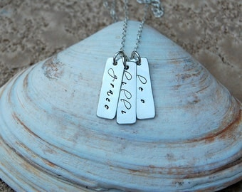 Custom Mother's Sterling Rectangular  Tag Necklace