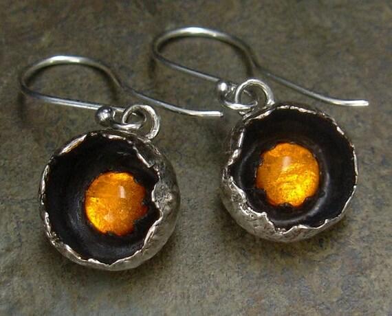 Amber Earrings - Botanical Pod Settings - Amber Jewelry