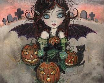 Halloween Fairy Vampire Cat Fantasy Art Archival Giclee Print 8 x 10