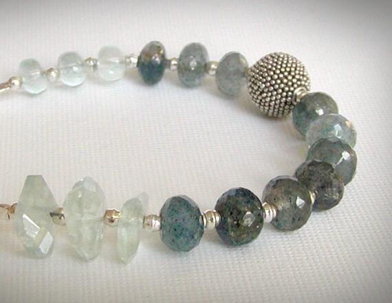 RESERVED - Aquamarine Bracelet - Moss Aquamarine, March Birthstone, Green Garnet