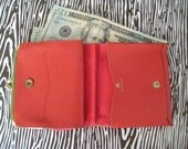 Little Red Wallet - vintage billfold with coin purse