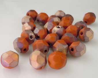 Czech Glass Beads 6mm Beads Matte Apollo Light Umber 25 Round Beads - Perfect for Leather Wrap Bracelets (G - 417)