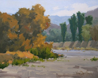 Autumn Riverbed - 9 x 12 Inch Original Oil Painting of Fall Trees and a Riverbed - Fall Decor - Harvest Decor - Wall Decor