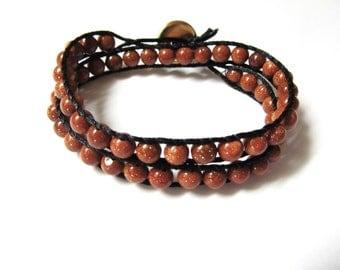 Chan Luu Style Double Wrap Bracelet in Goldstone