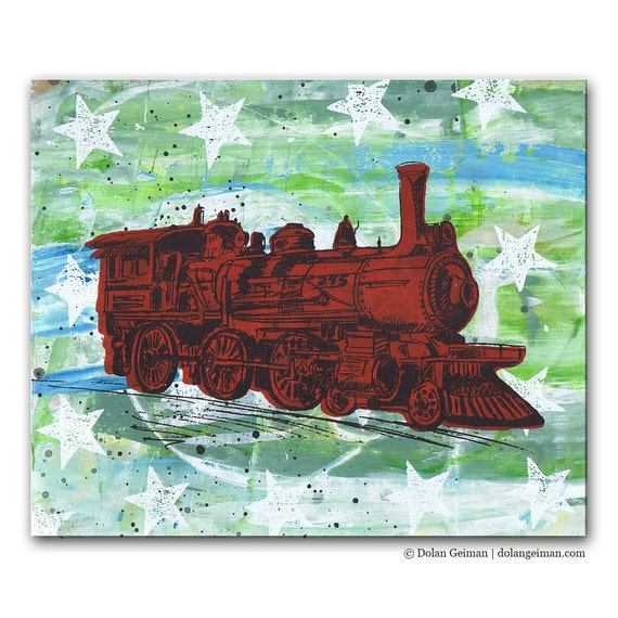 Red Train Panel Painting, Original Screenprint Art on Wood for Boys Room, Americana Stars and Stripes