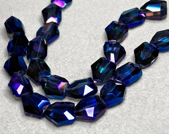 Midnight Passion II- faceted crystal nugget beads