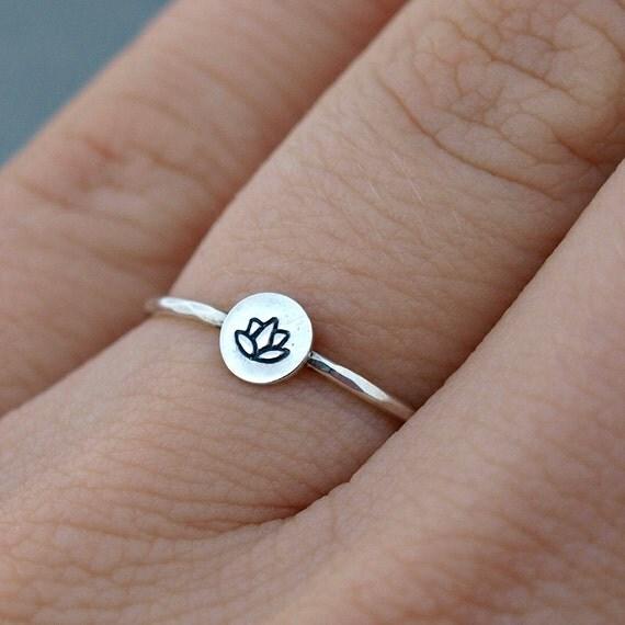 silver lotus ring lotus jewelry sterling silver