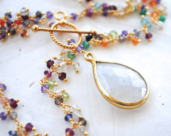 Colorful Gemstone Chain with Solar Quartz Pendant. Fine Jewelry. Amethyst. Quartz. Emerald. Carnelian. Peridot. Labradorite.