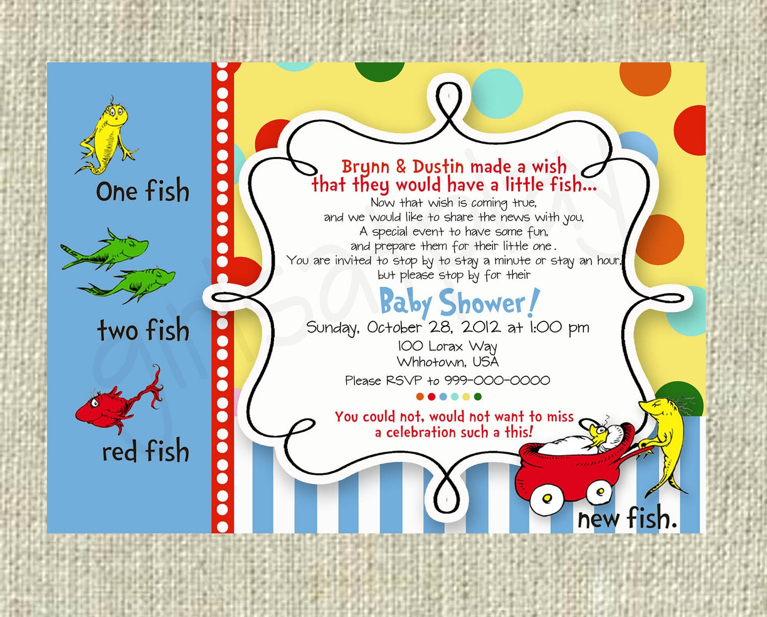 Dr seuss baby shower invitation one fish two fish boy or girl for Fishing baby shower invitations