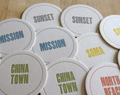 SAN FRANCISCO Letterpress Neighborhood Coasters (Pack of 10)