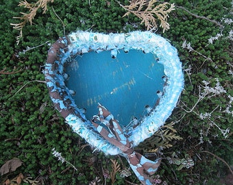 BLUE OVER YOU heart shaped textile art gift BaSKeT