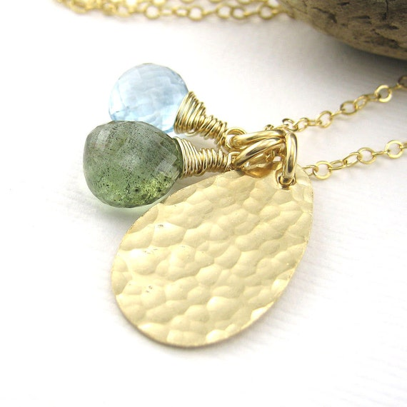 CLEARANCE Gemstone Charm Necklace No. 16 Blue Topaz Moss Aquamarine 14k Gold Fill Teardrop Pendant Handmade Fashion Jewelry