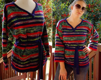 SPACE Dyed 1970's Vintage Navy Blue Red & Green Belted Tunic Sweater size Medium