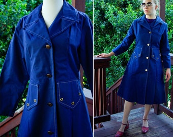 BLUEBERRY 1960's 70's Vintage MOD Deep Blue Long Jacket Coat with Gold Buttons size Small Medium
