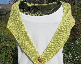 Hand knit chartreuse bamboo yarn shawl or shawlette with back detail, women's spring summer shawl, all season shawl, kerchief scarf