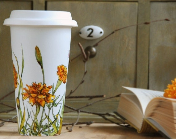 Ceramic Eco-Friendly Coffee Mug - Buds and Marigolds, Botanical  Collection - made to order