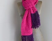 Pink Scarf with Dark Purple Wool Fringe - scarf, women's winter accessory